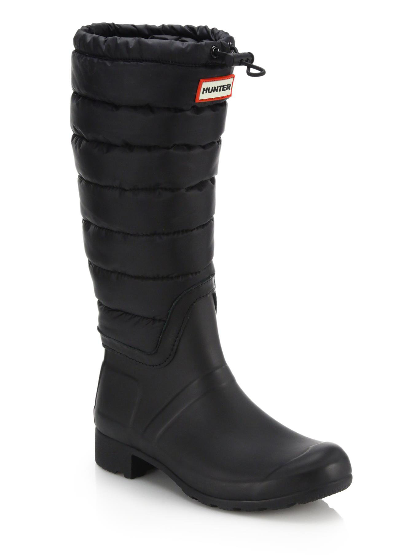 Hunter Original Quilted Rain Boots In Black Lyst