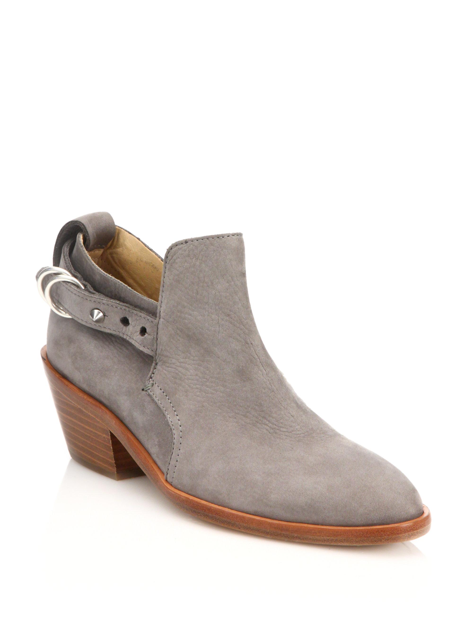 Rag Amp Bone Sullivan Nubuck Leather Ankle Boots In Gray Lyst
