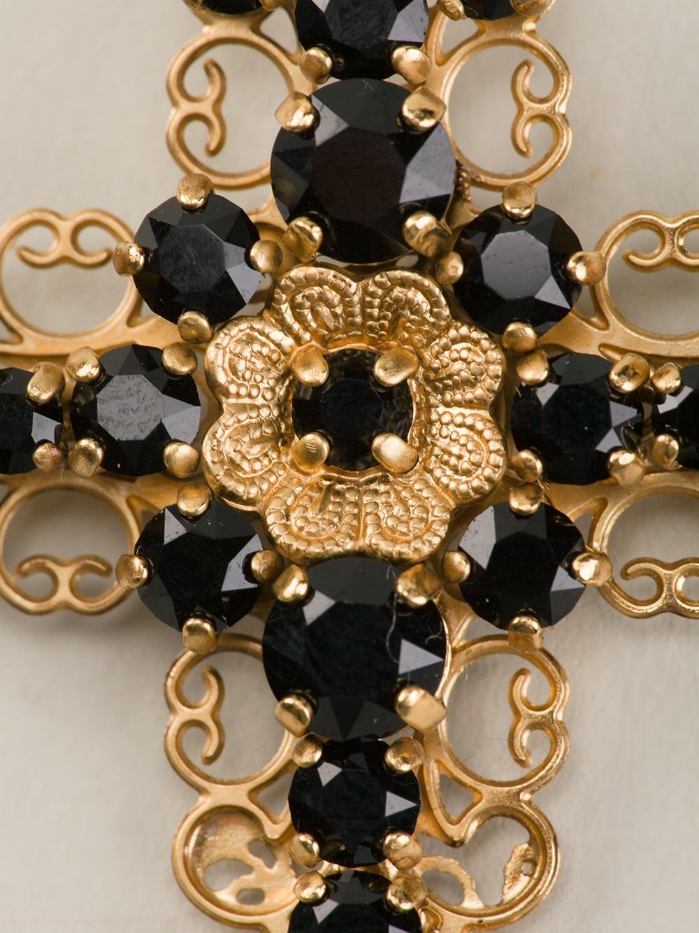 dolce amp gabbana cross clip on earrings in metallic lyst