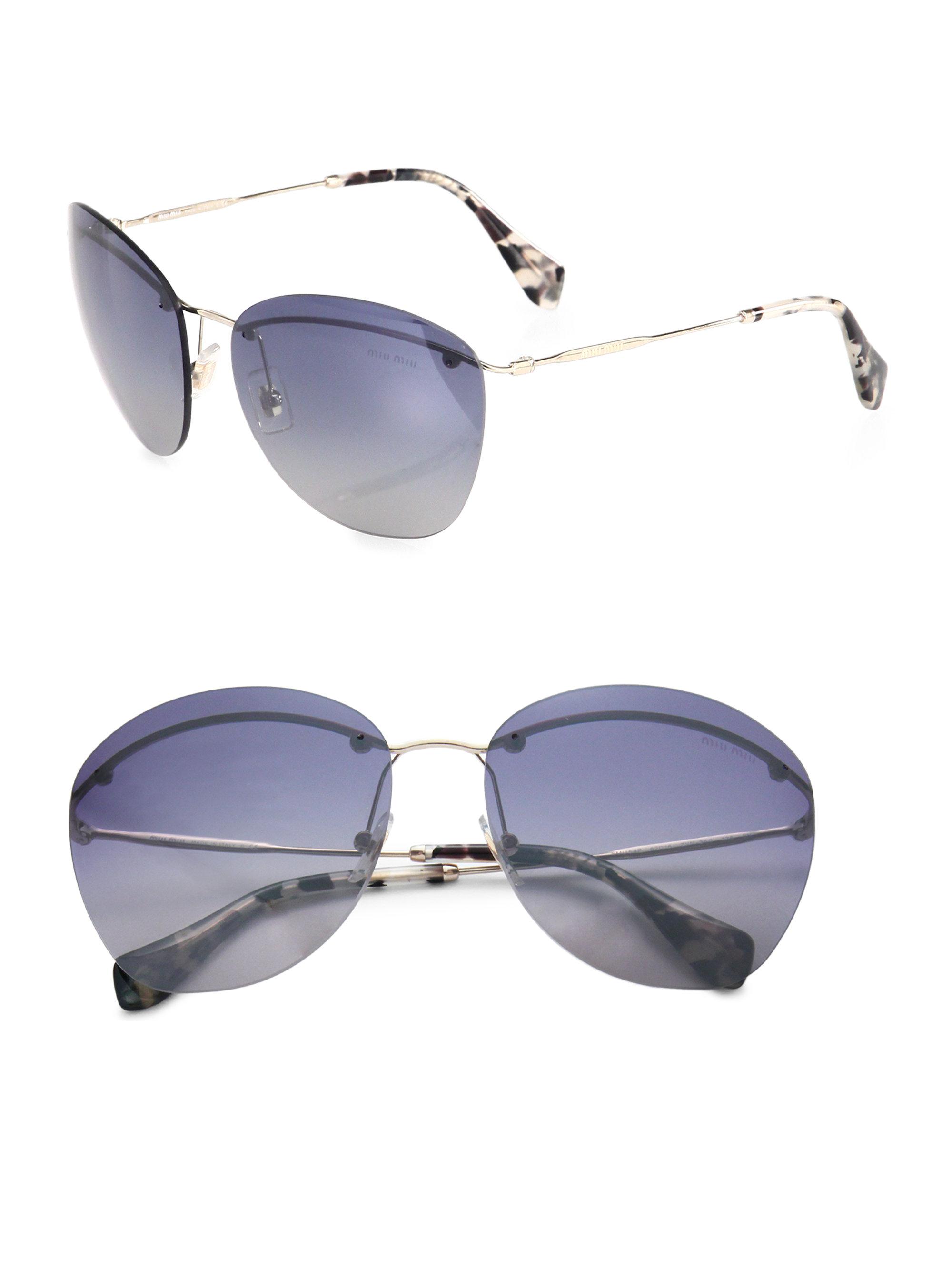 Miu miu Frameless Aviator Sunglasses in Blue Lyst