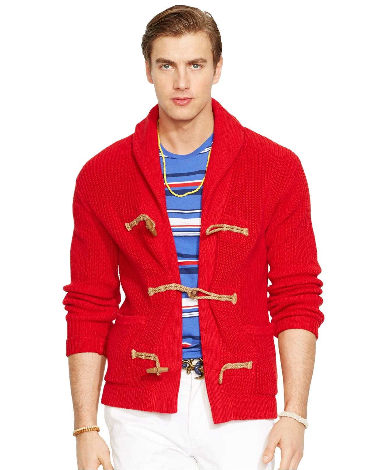 ab1a842f5 ... best lyst polo ralph lauren egyptian cotton shawl cardigan sweater in  a5f2b 06f21
