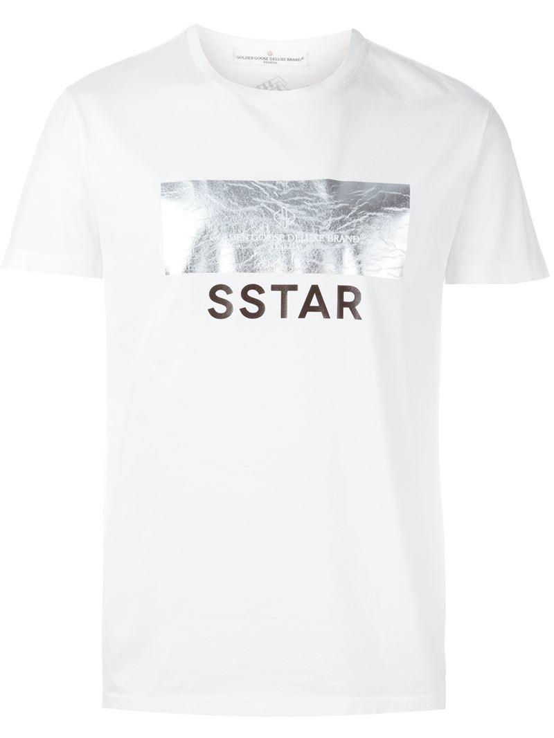 Golden goose deluxe brand foil print t shirt in white for for Foil print t shirts custom