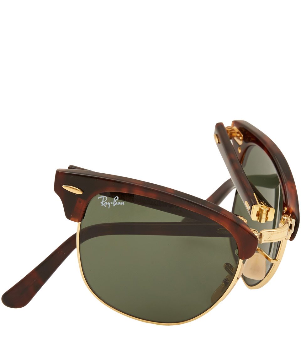 c3ff6bb693af7 Ray-Ban Tortoiseshell Folding Clubmaster Sunglasses in Brown - Lyst
