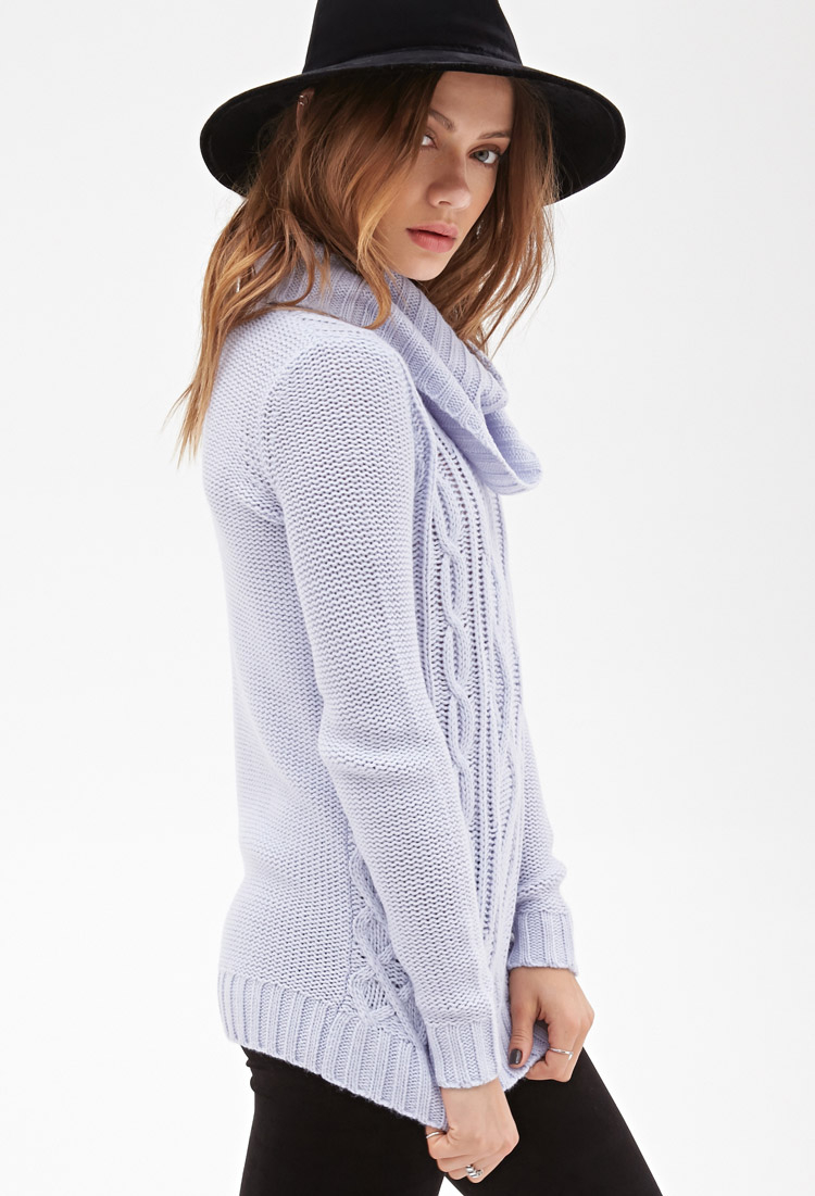 Forever 21 Turtleneck Cable Knit Sweater in Blue | Lyst