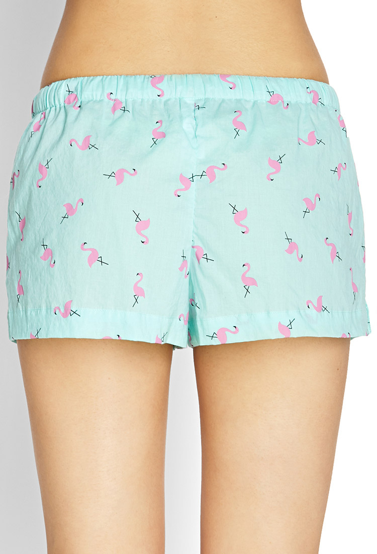 Lyst Forever 21 Flamingo Sleep Shorts In Blue