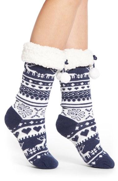 Make + model Fair Isle Slipper Socks in Blue | Lyst