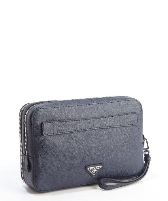 Prada Baltic Blue Saffiano Leather Double Zipper Small Travel Bag ...
