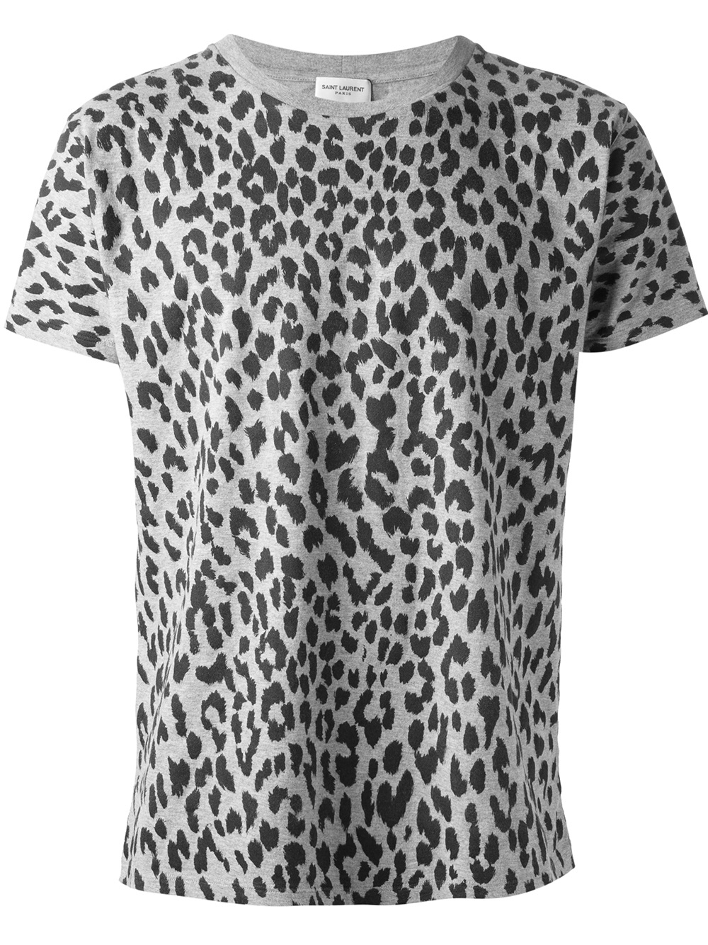 Lyst saint laurent leopard print tshirt in gray for men for Print one t shirt
