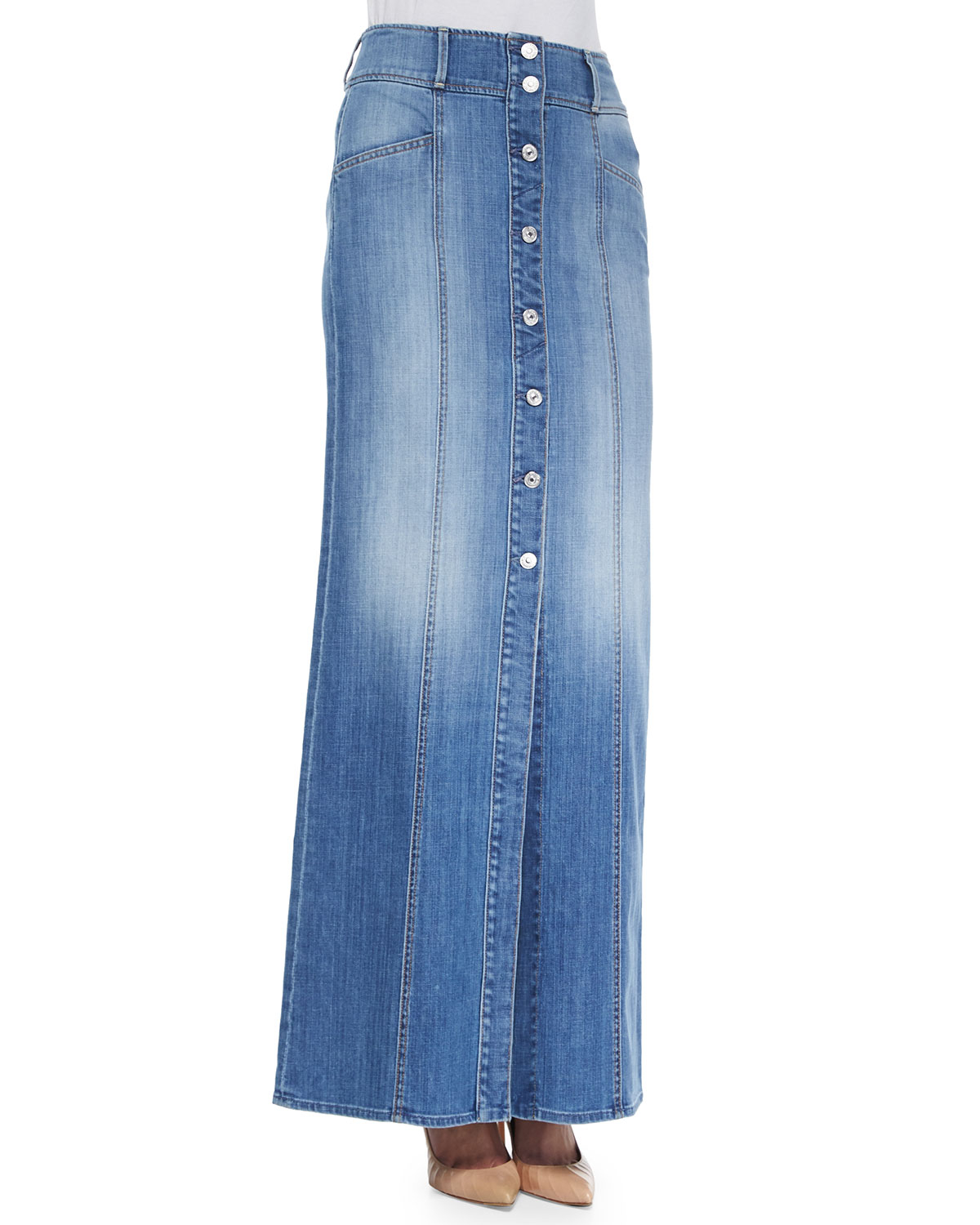 7 for all mankind button front denim skirt in blue lyst