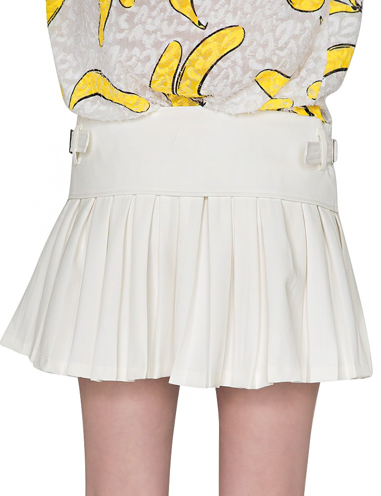 pixie market pleated belted tennis mini skirt in white lyst