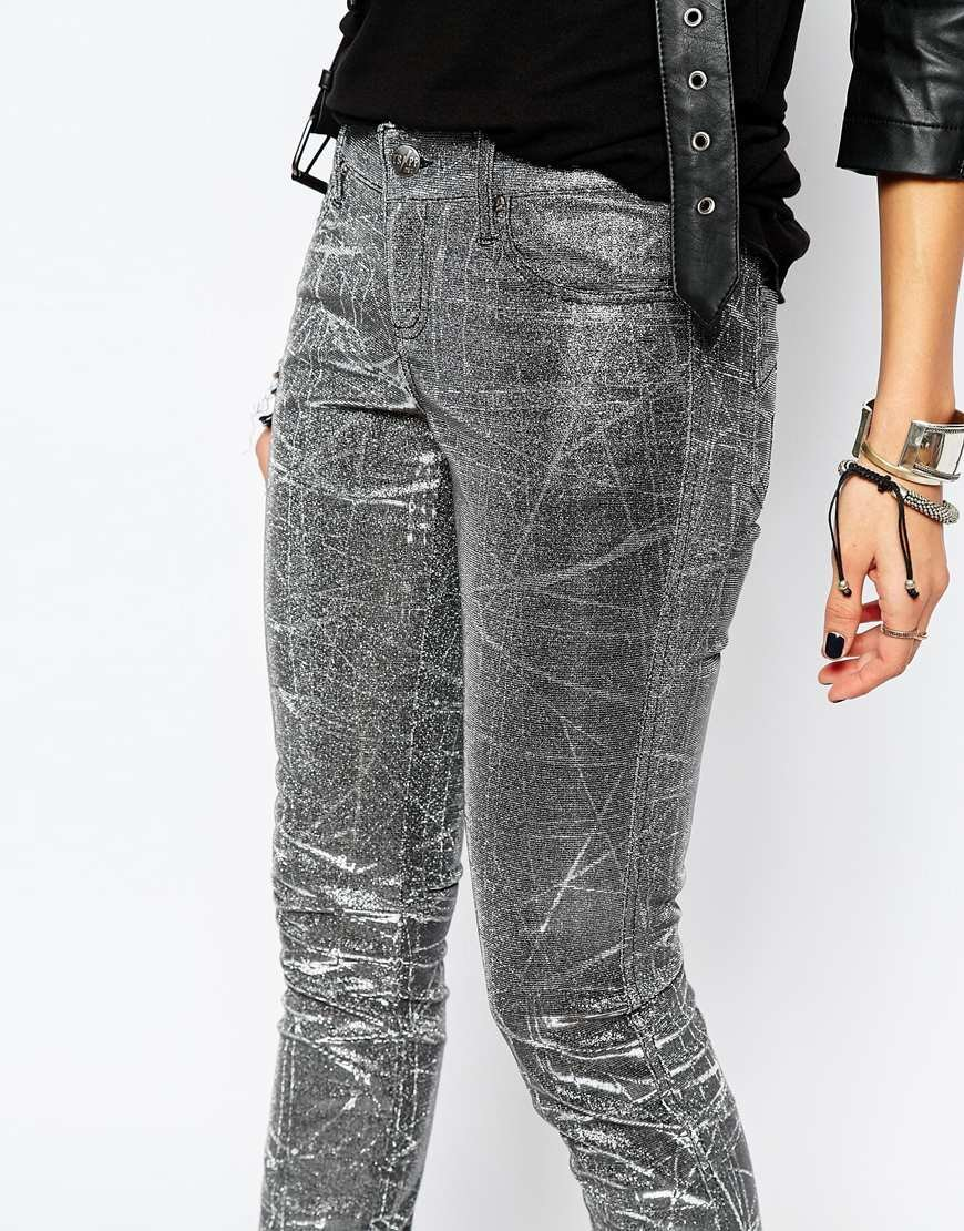 Tripp nyc Iridescent Metallic Skinny Jeans in Metallic | Lyst