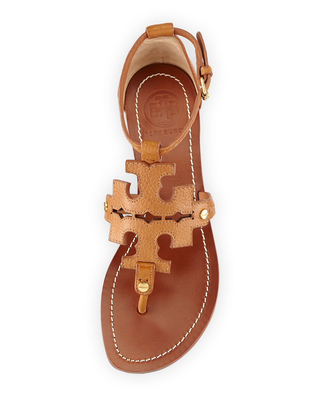 870209e89de382 Lyst - Tory Burch Phoebe Logo Flat Thong Sandal Tan in Brown
