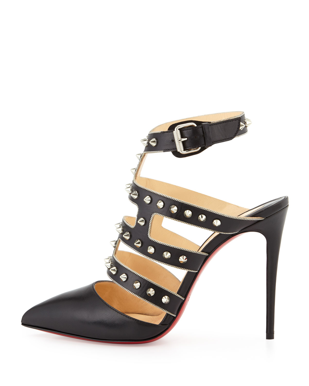 Christian louboutin Tchikaboum Studded Red Sole Pump in Silver ...