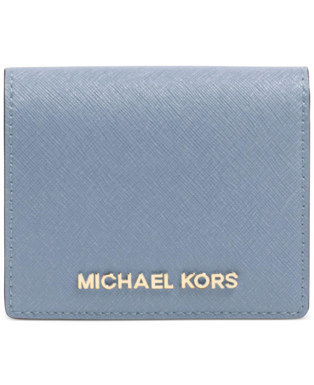 6c0fe12fd345 Lyst - Michael Kors Michael Jet Set Travel Flap Card Holder in Blue