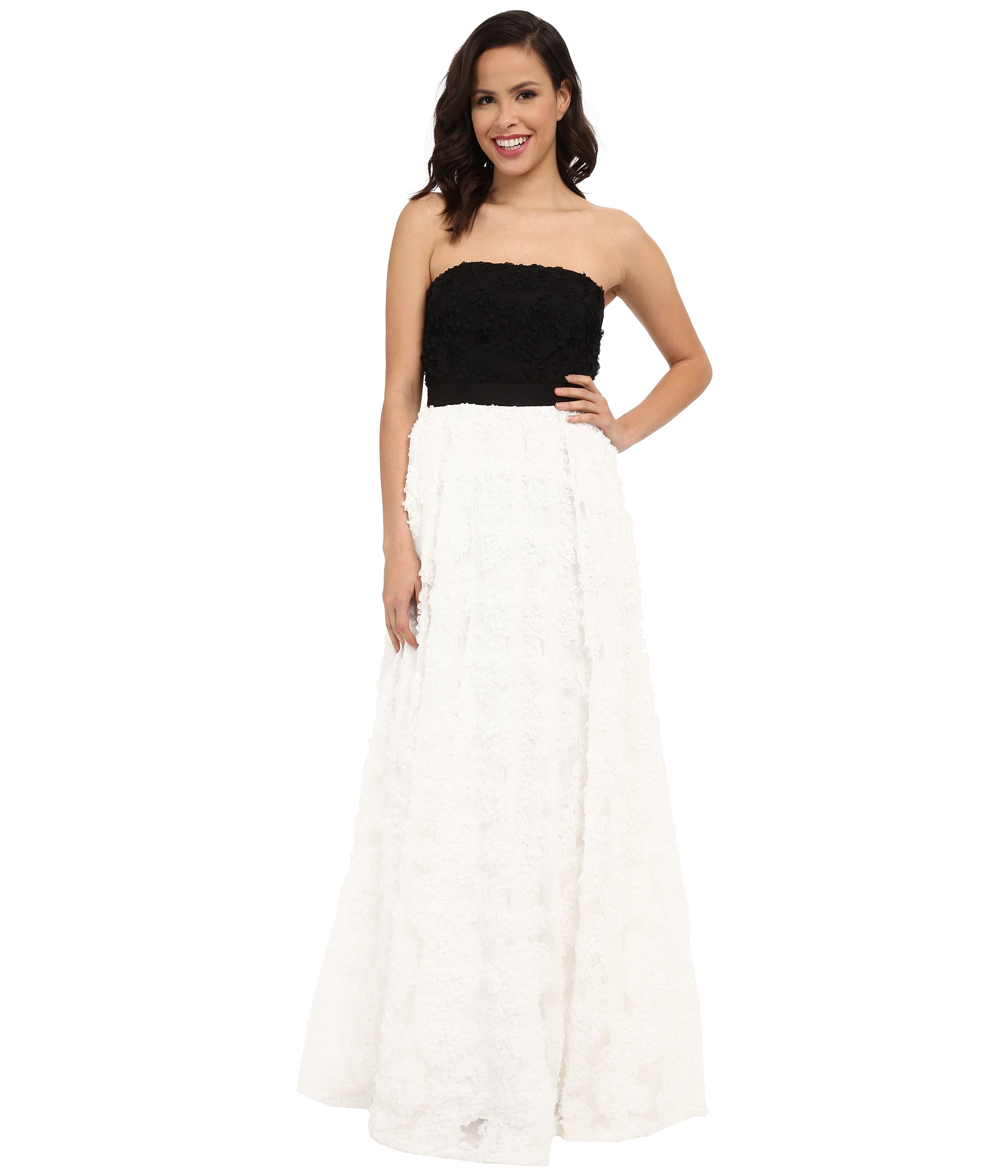 Lyst - Adrianna Papell Strapless Color Blocked Tulle And Chiffon ...