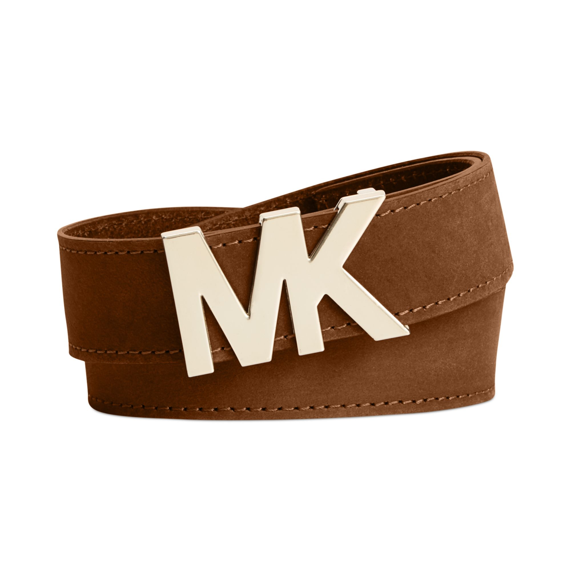 d19f6b17b8bec Lyst - Michael Kors Michael Mk Logo Plaque Leather Belt in Brown