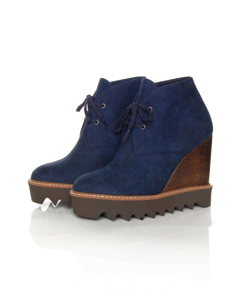 stella mccartney blue ankle wedge boot in blue lyst