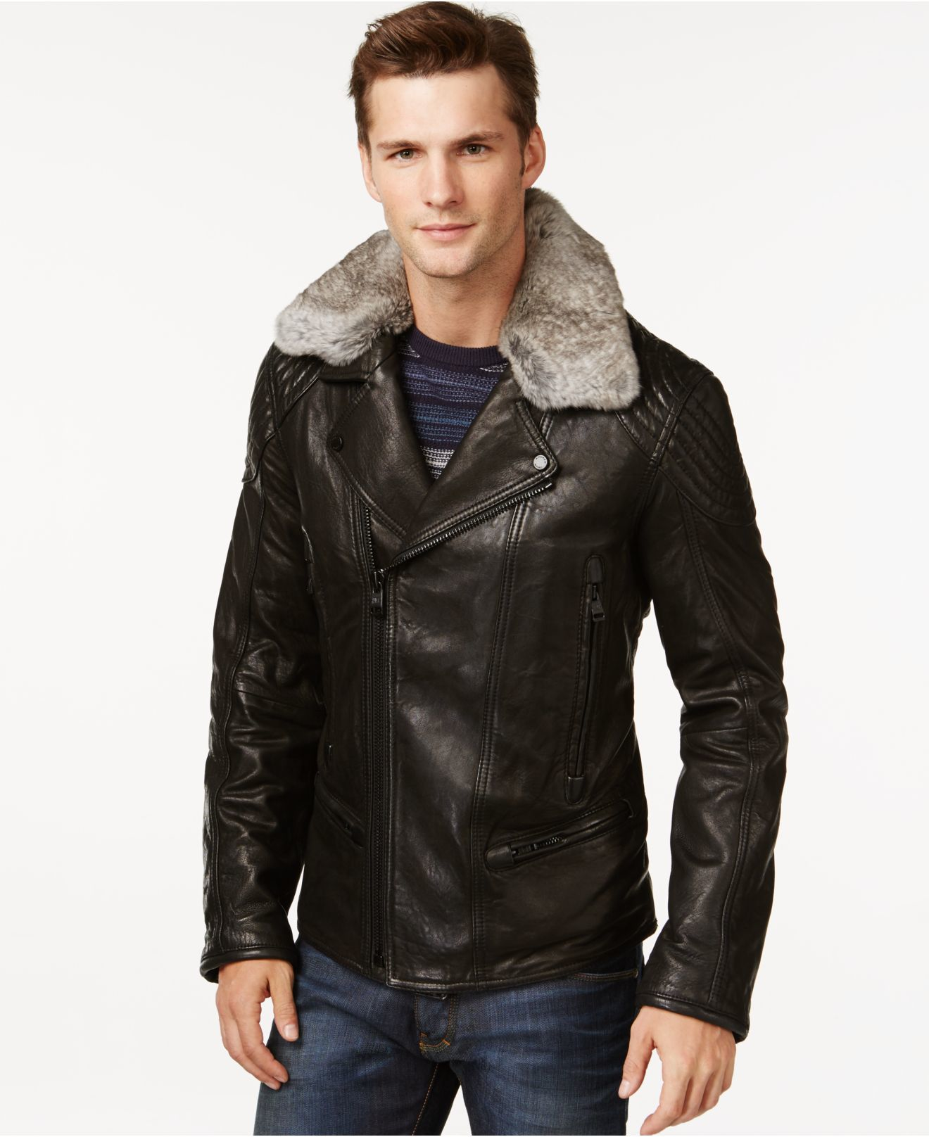 Andrew marc Hawkinge Fur-collar Leather Jacket in Black for Men | Lyst