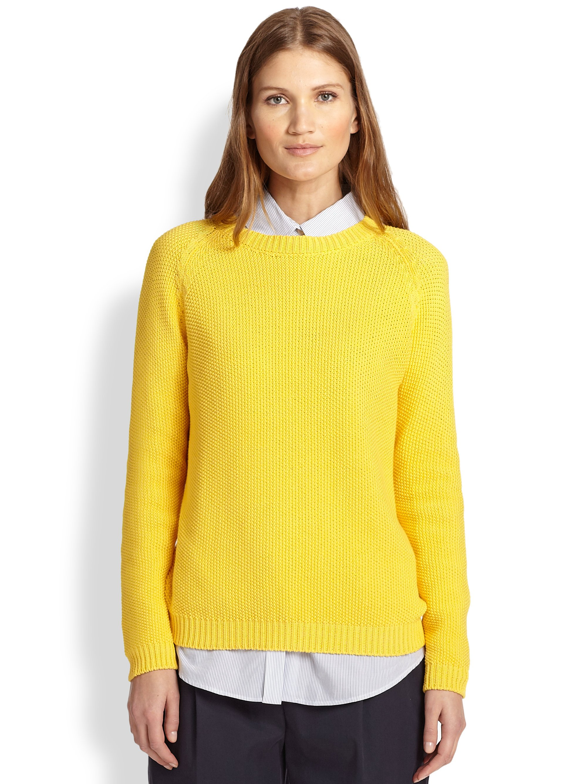 Weekend by maxmara Cotton Apuania Sweater in Yellow | Lyst