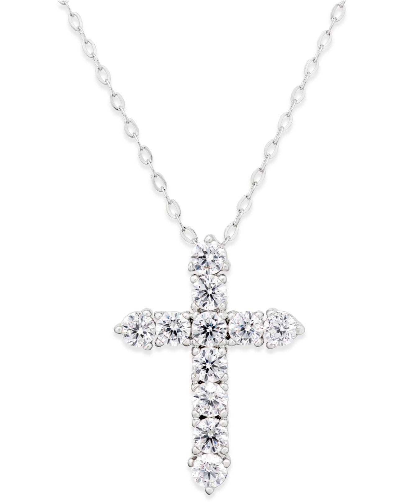 Danori Eliot Silver Tone Crystal Cross Pendant Necklace In