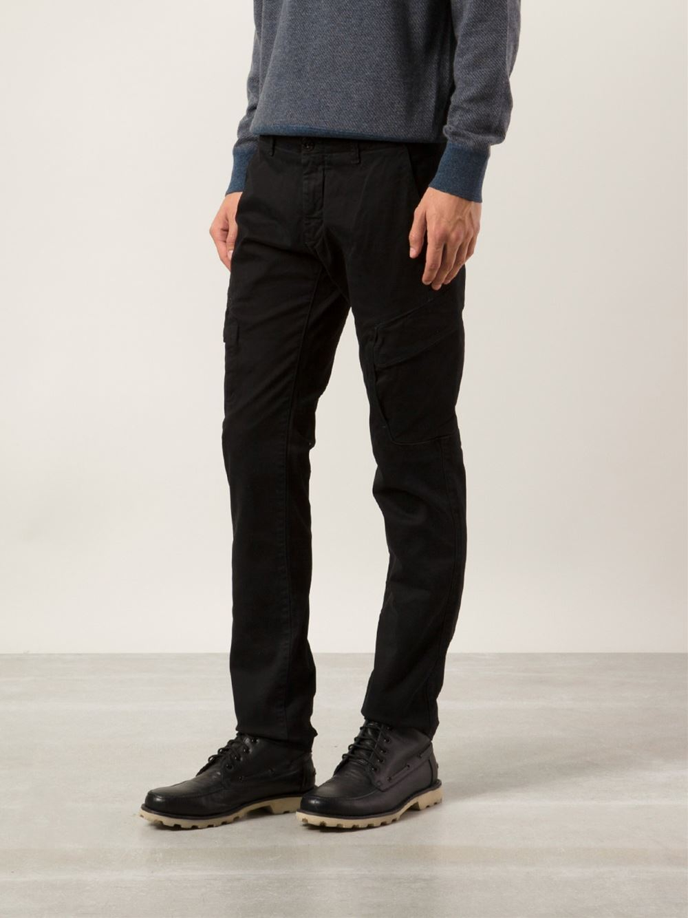 stone island chino trousers in black for men lyst. Black Bedroom Furniture Sets. Home Design Ideas