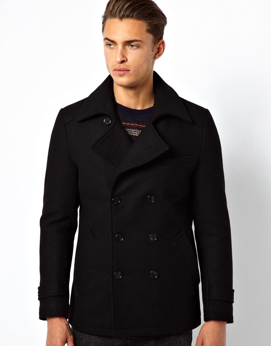 Selected Selected Wool Pea Coat in Black for Men | Lyst