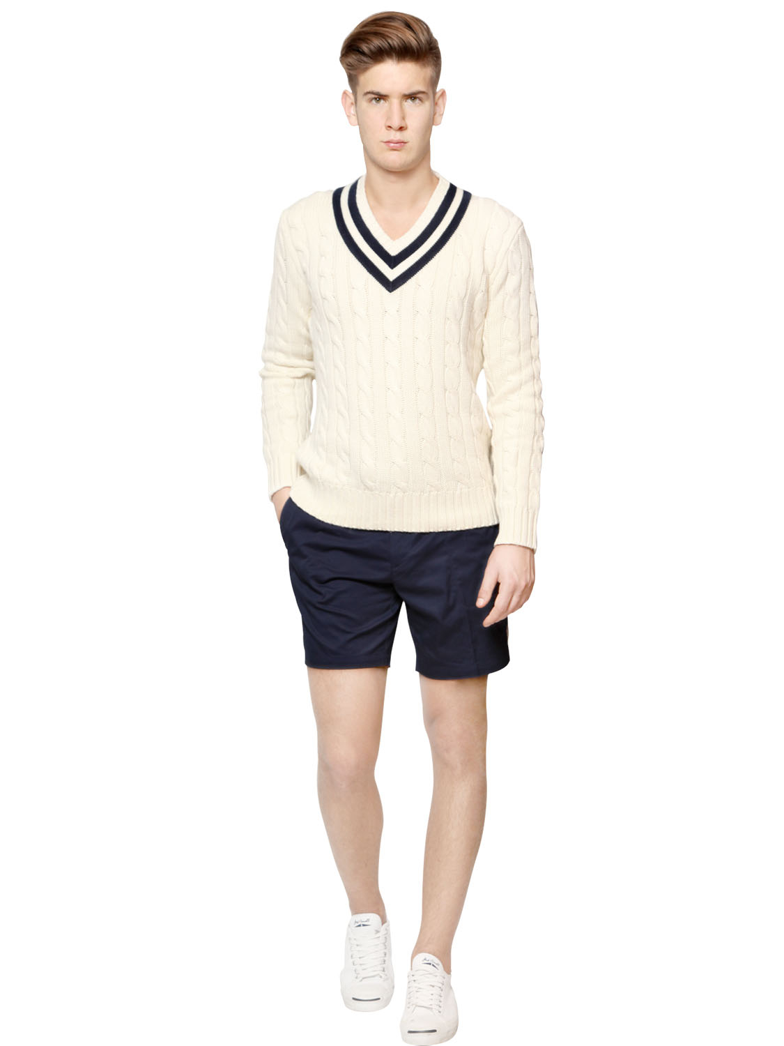 Polo ralph lauren Official Wimbledon Cotton Blend Sweater in Blue for Men (MILK/NAVY