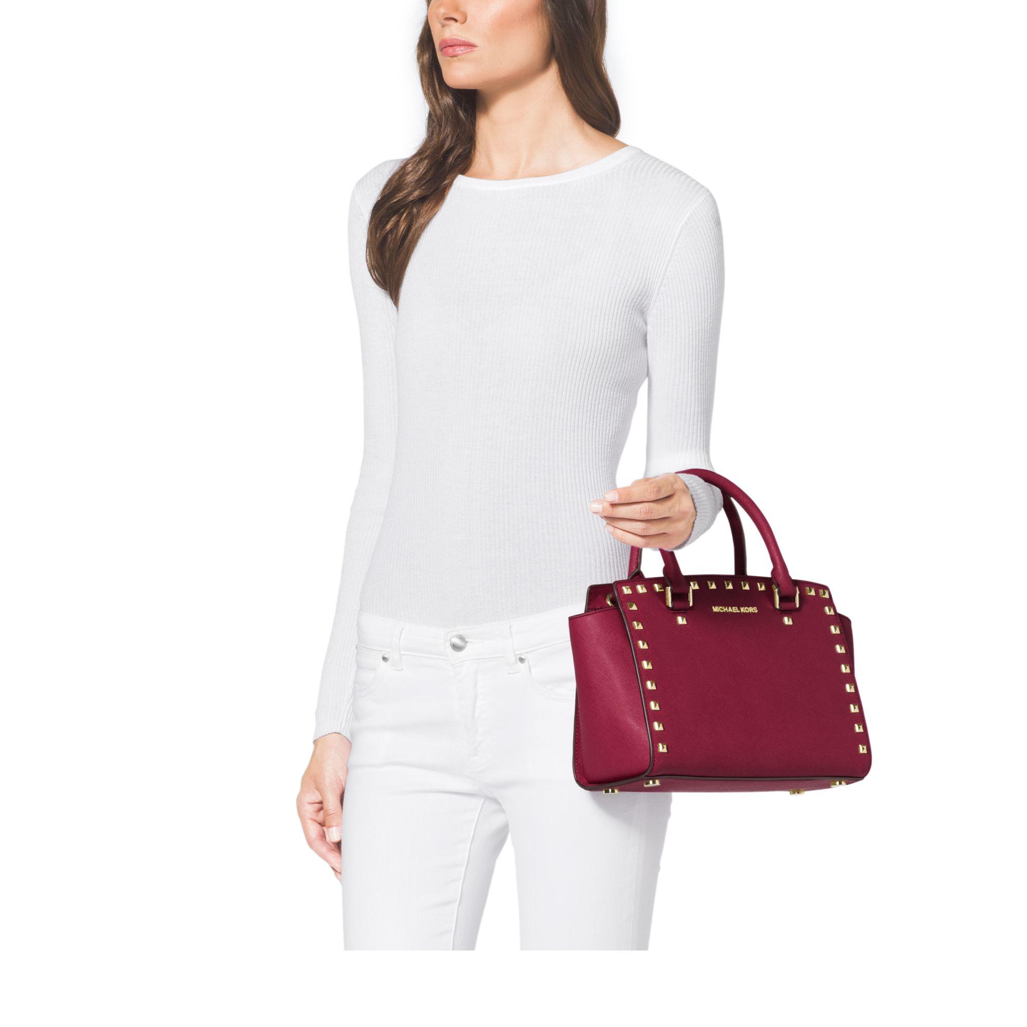 michael kors selma studded saffiano leather satchel in red. Black Bedroom Furniture Sets. Home Design Ideas