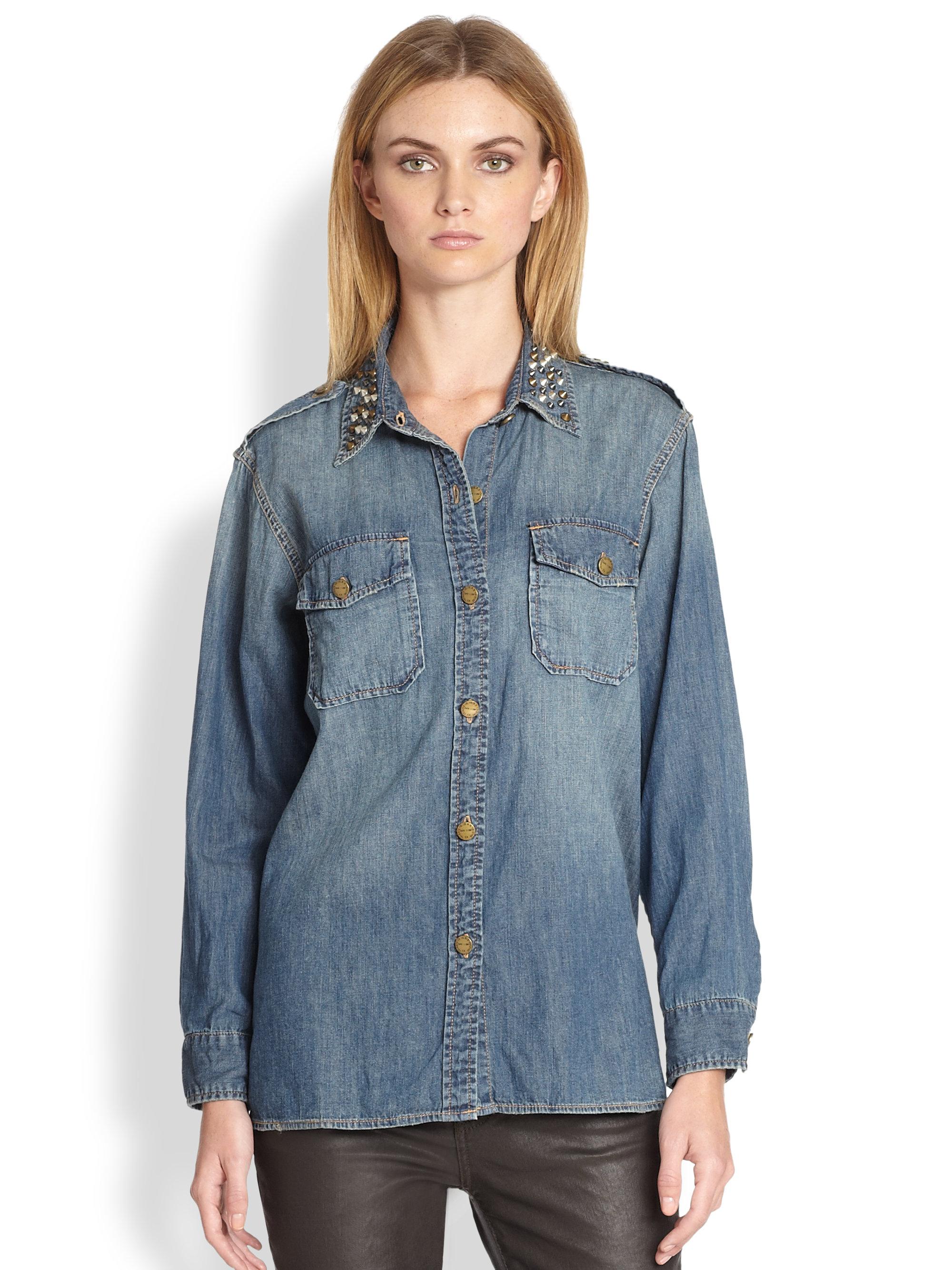 b46c5f084b Current Elliott The Perfect Studded Collar Denim Shirt in Blue - Lyst