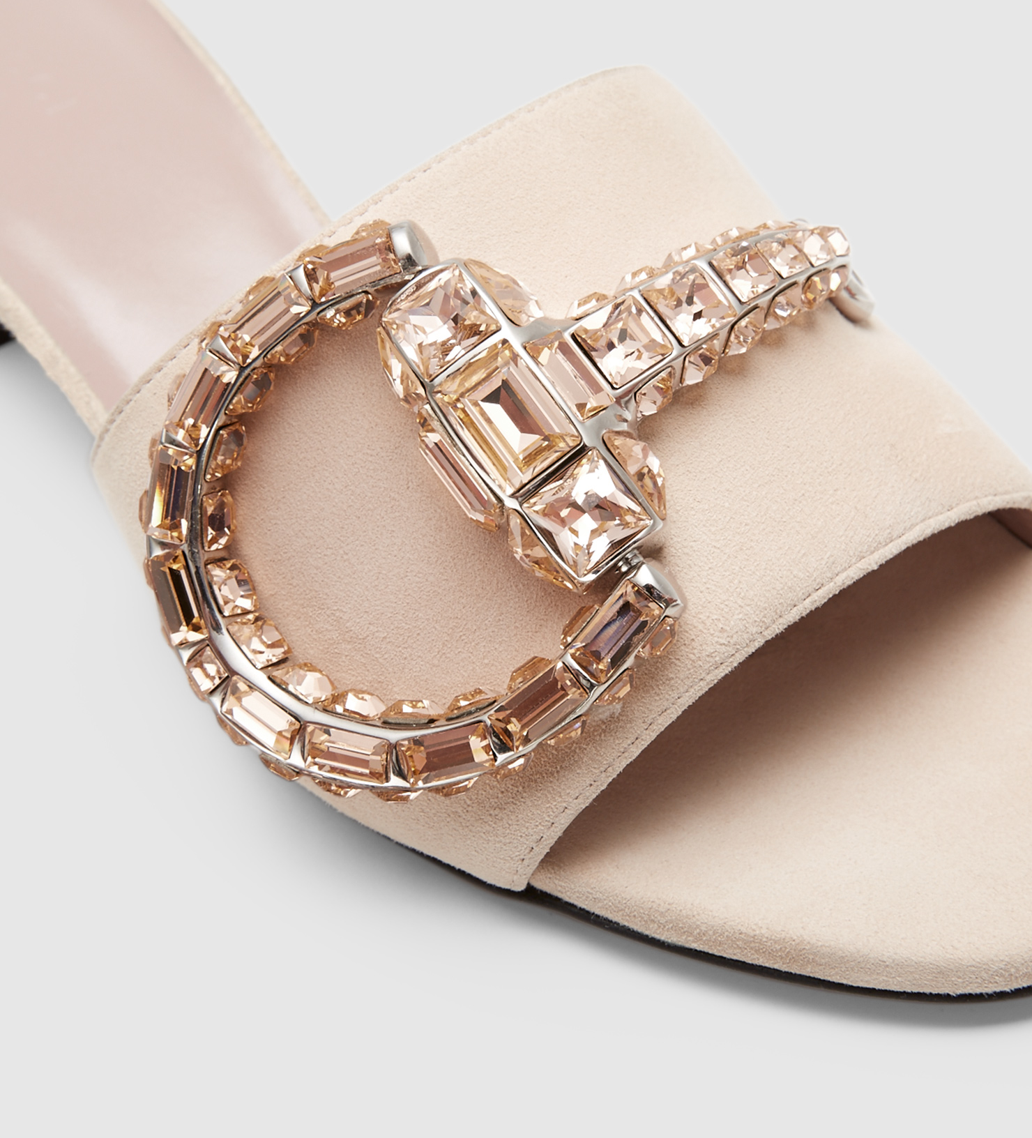 d2f7130ea9a Lyst - Gucci Maxime Crystal Covered Horsebit Suede Sandal in Natural