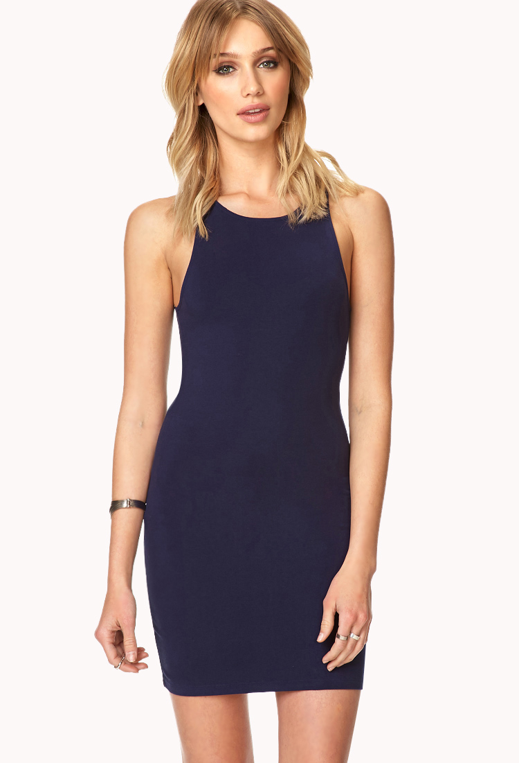 Forever 21 Dynamite Zippered Bodycon Dress In Blue Lyst