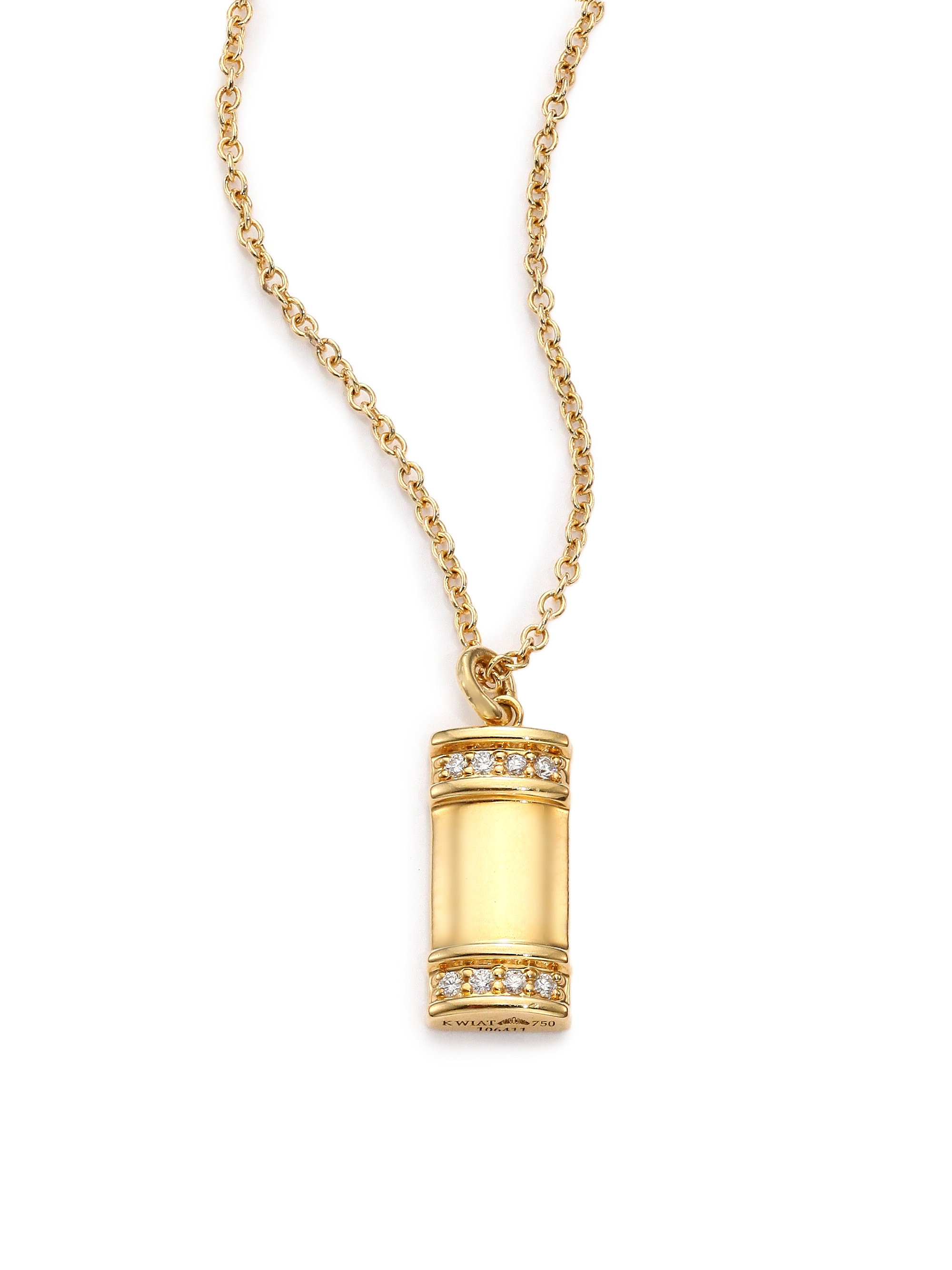 kwiat 18k yellow gold small tag pendant necklace
