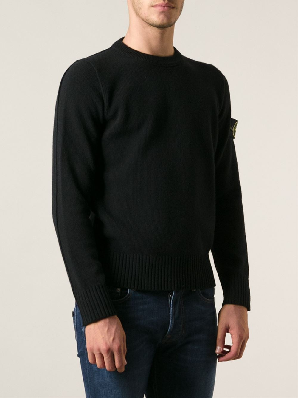stone island black crew neck sweater. Black Bedroom Furniture Sets. Home Design Ideas