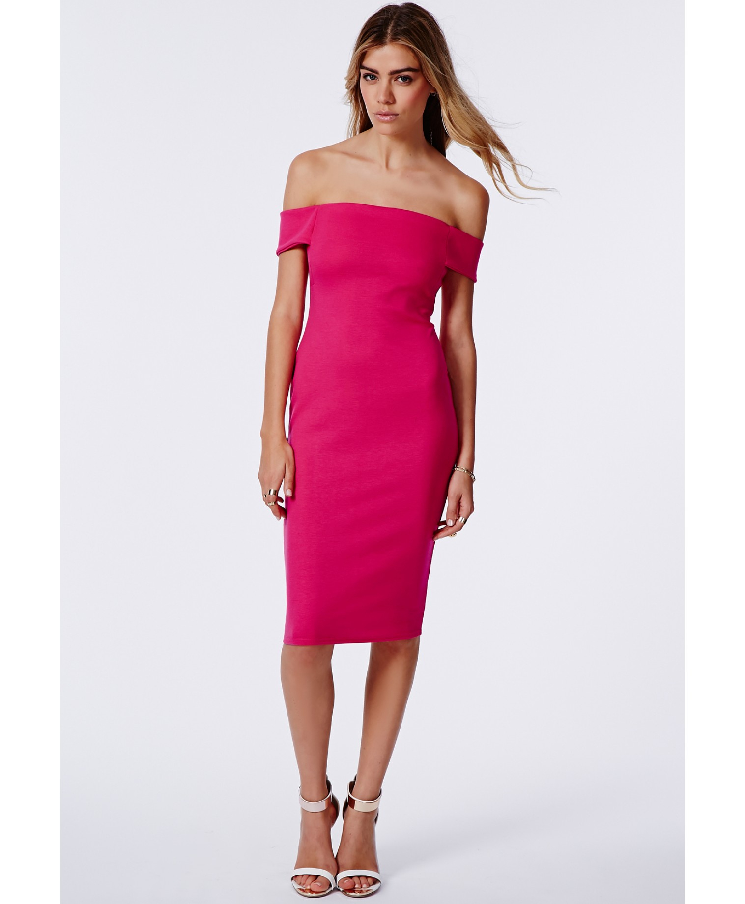 9ca756793edb Missguided Joy Bardot Bodycon Midi Dress Fuchsia in Purple - Lyst