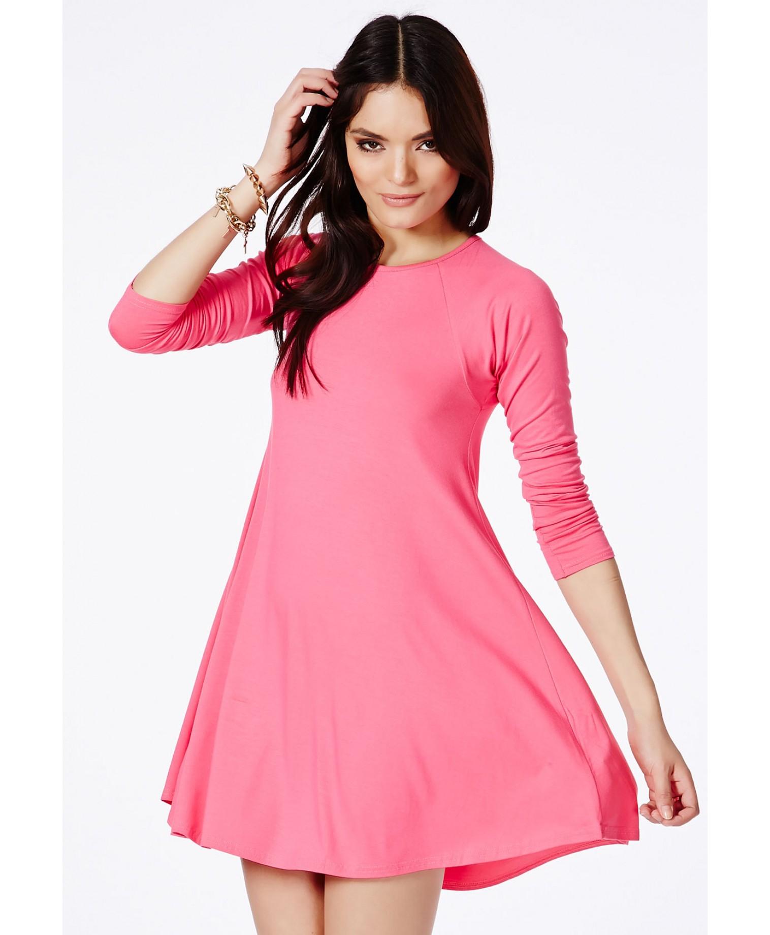 Mikita long sleeve swing dress in blush