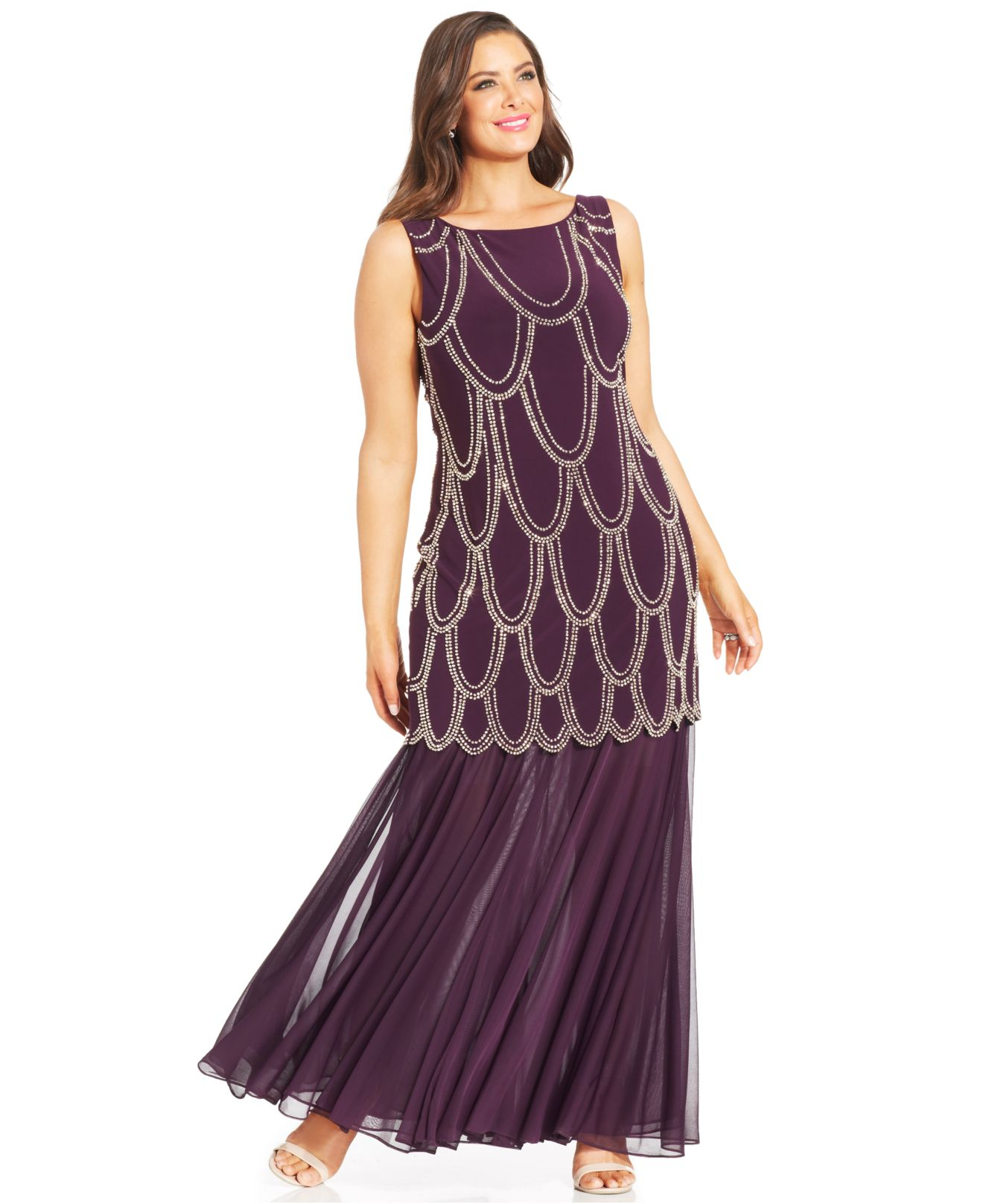 Lyst - Betsy & Adam Plus Size Beaded Drop-waist Dress in Purple
