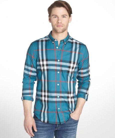 Burberry brit dark teal plaid cotton button down long for Mens teal button down shirt