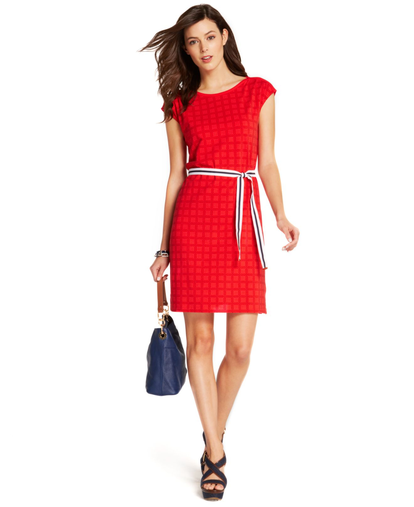 Tommy Hilfiger Cap Sleeve Printed Belted Dress In Red Lyst