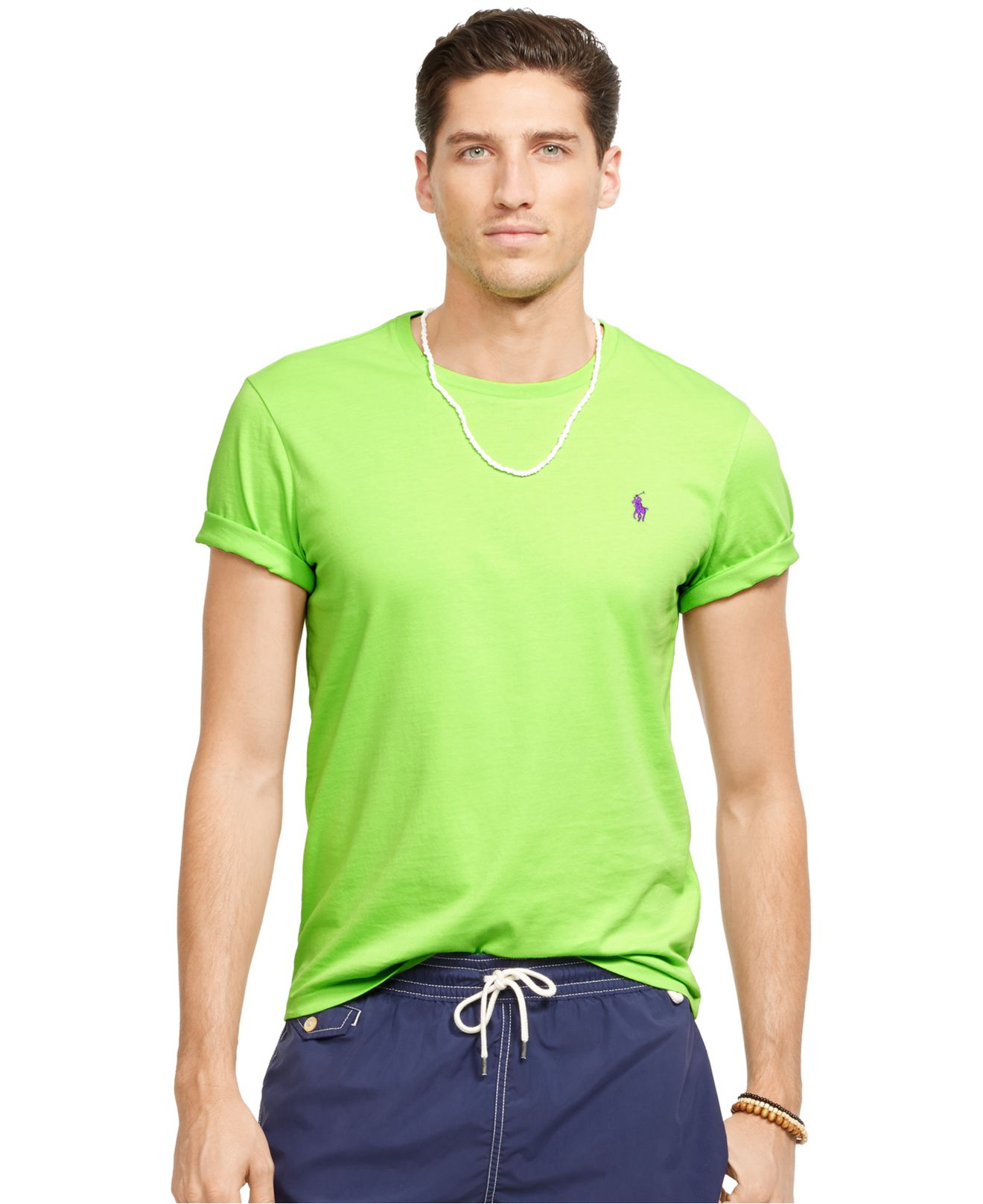 Polo ralph lauren custom fit jersey t shirt in green for for Custom fit t shirts