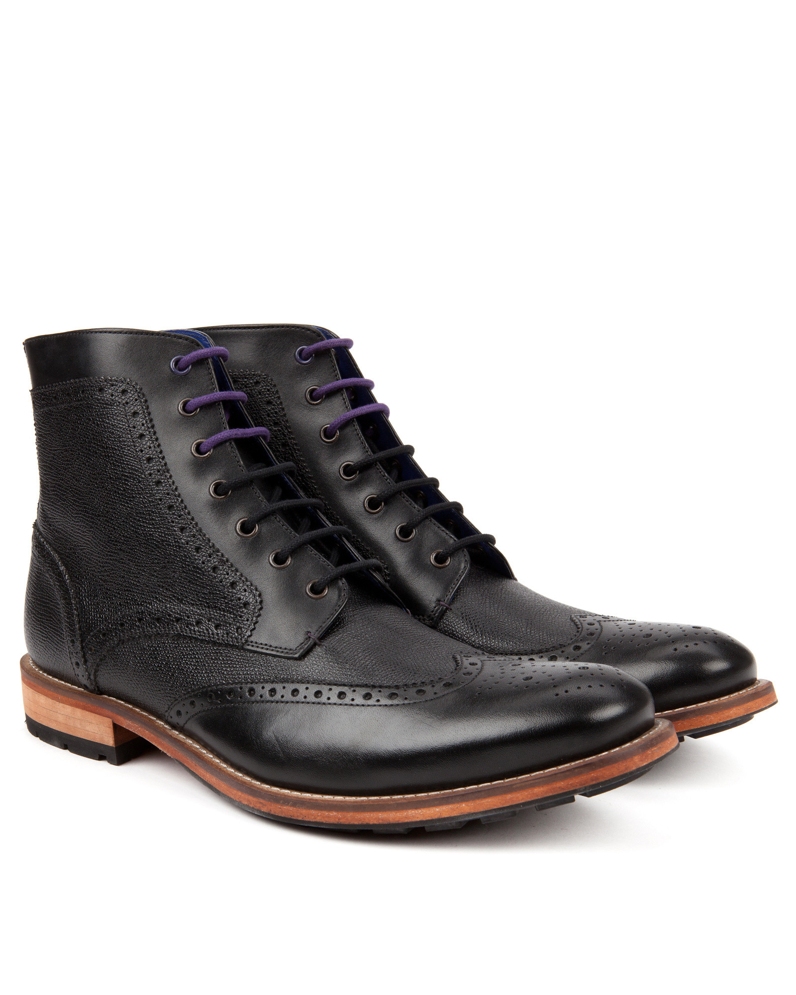 ted baker leather wingtip ankle boots in black for lyst