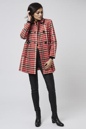 Topshop Petite Check Coat in Red | Lyst