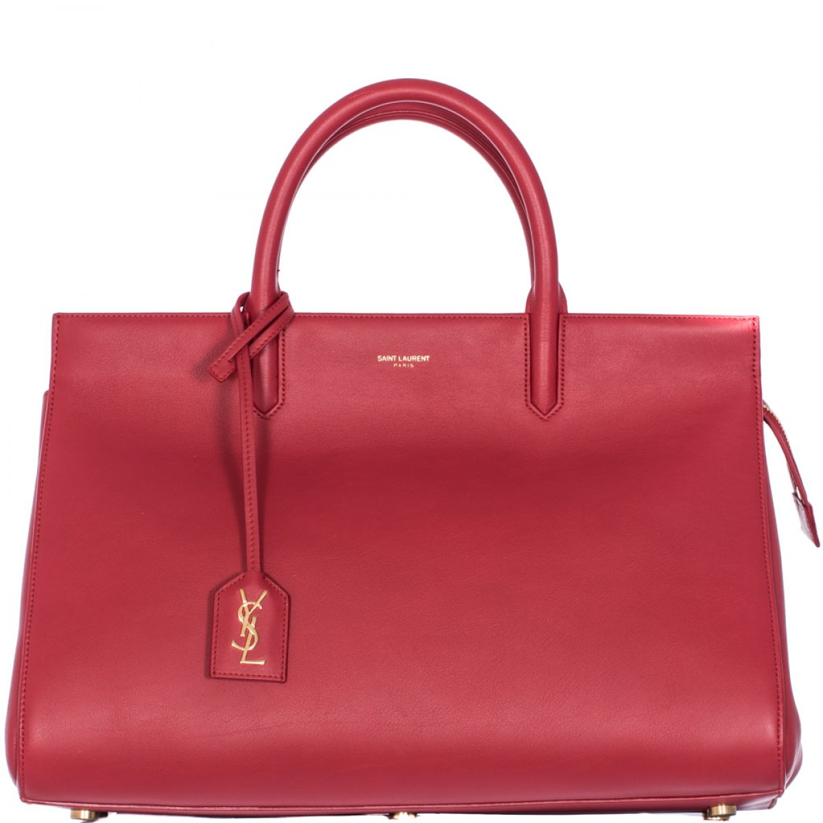 Saint Laurent Red Leather Cabas Rive Gauche Medium Bag In