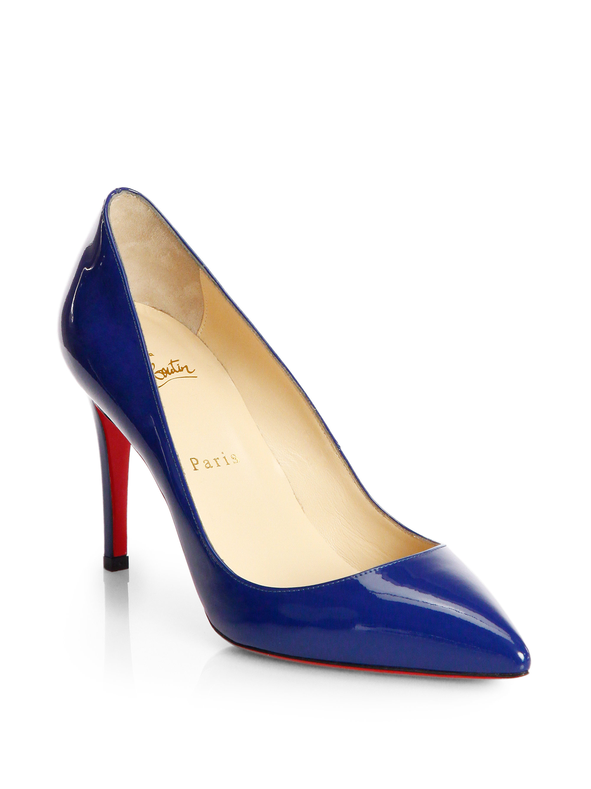 Lyst Christian Louboutin Pigalle 85 Patent Pumps In Blue