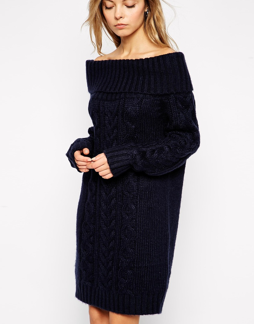 6cfcabfcc6d ASOS Cable Knit Dress With Off Shoulder in Black - Lyst