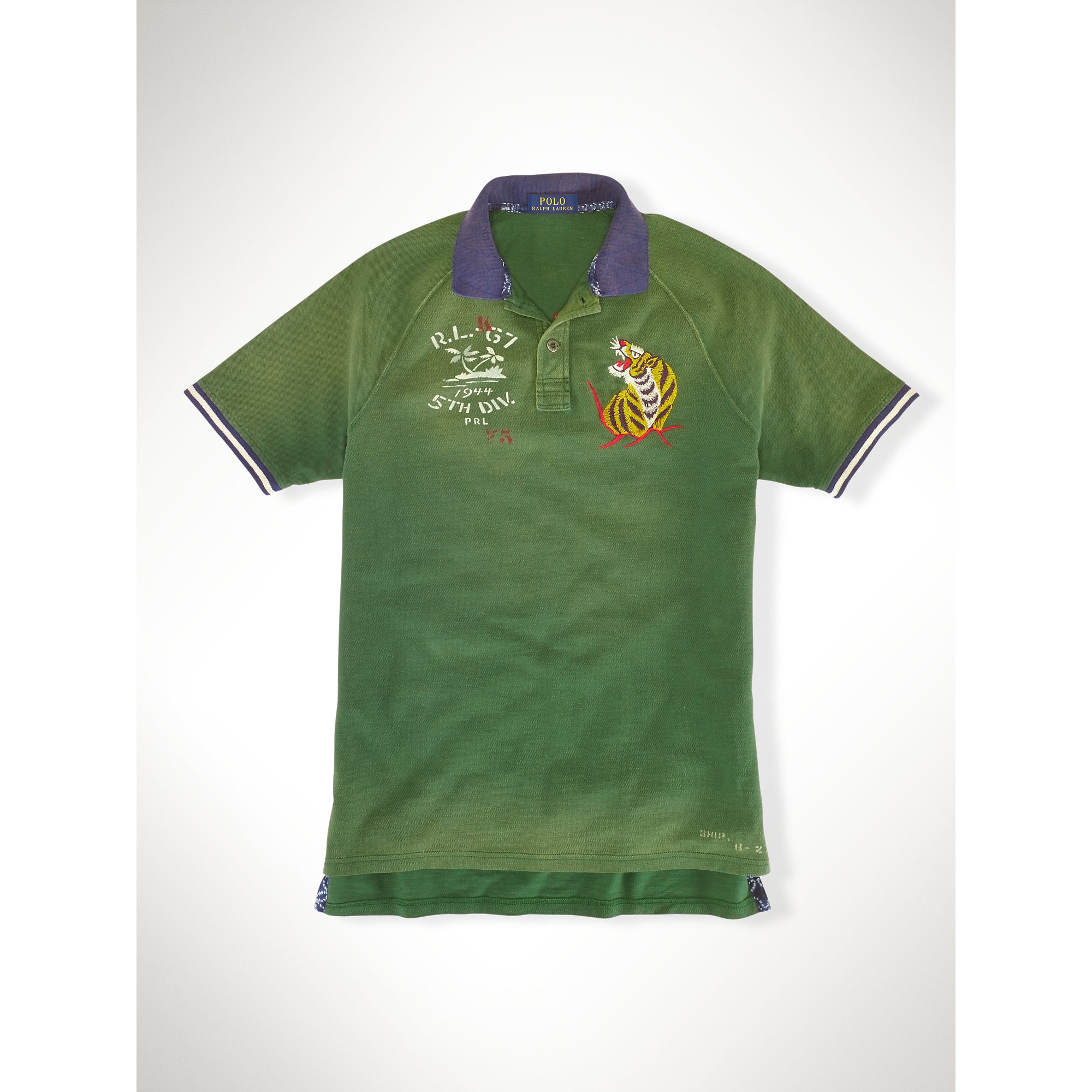 Lyst polo ralph lauren custom fit tiger polo shirt in for The tour jacket polo shirt