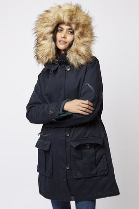 Topshop Long Padded Parka in Blue | Lyst