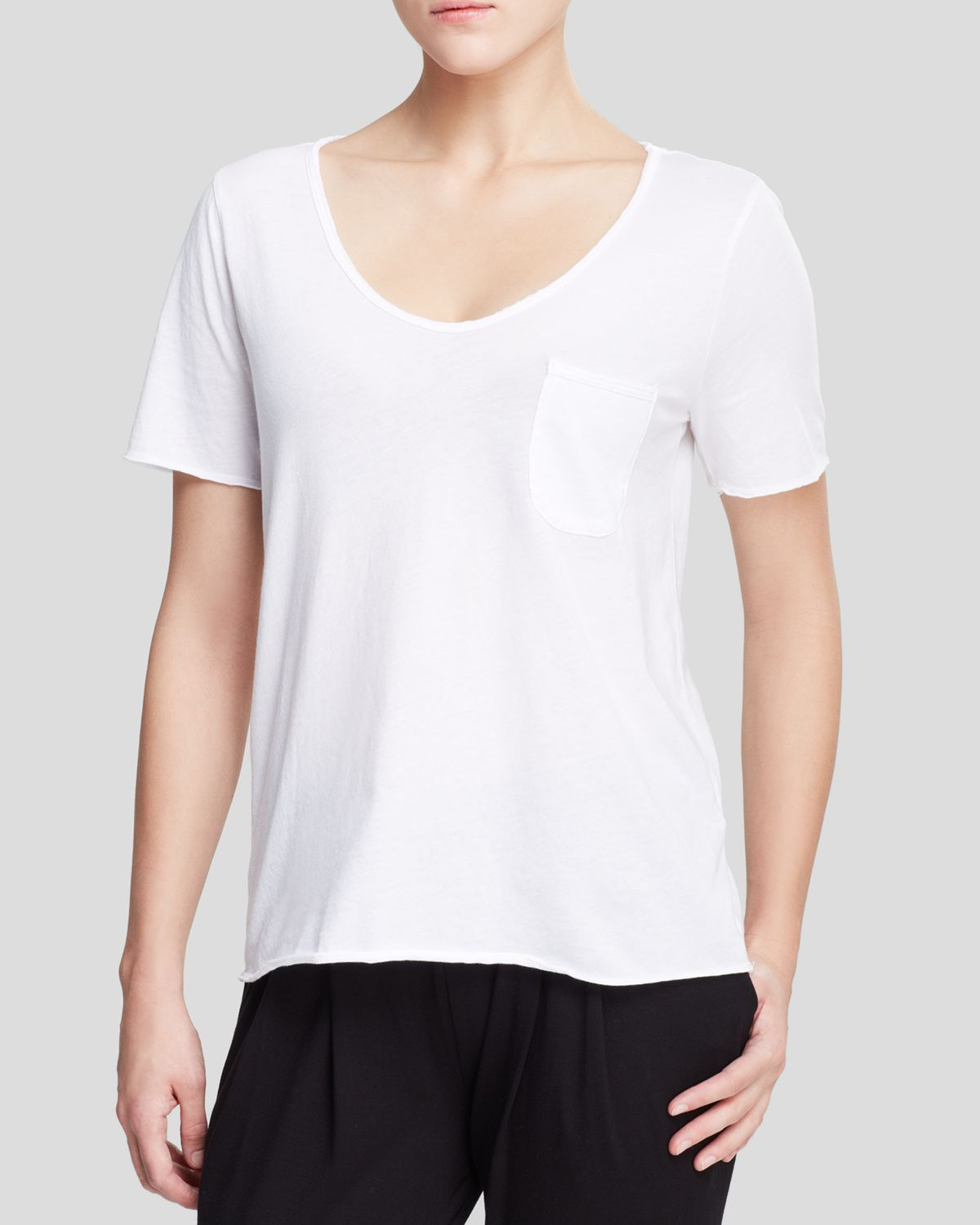 Lyst Three Dots Patch Pocket Tee In White