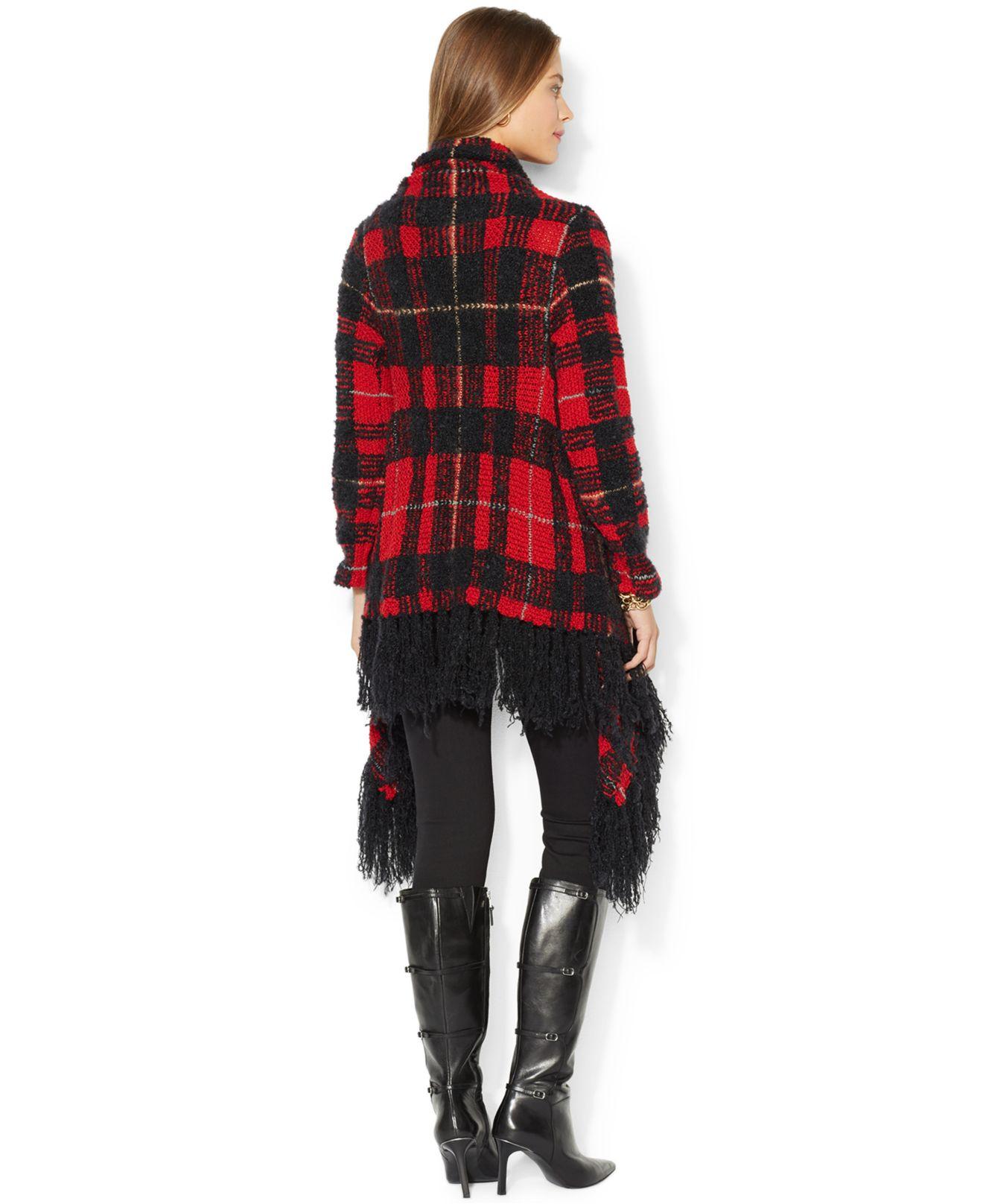 Lyst Lauren By Ralph Lauren Plaid Wrap Sweater In Red