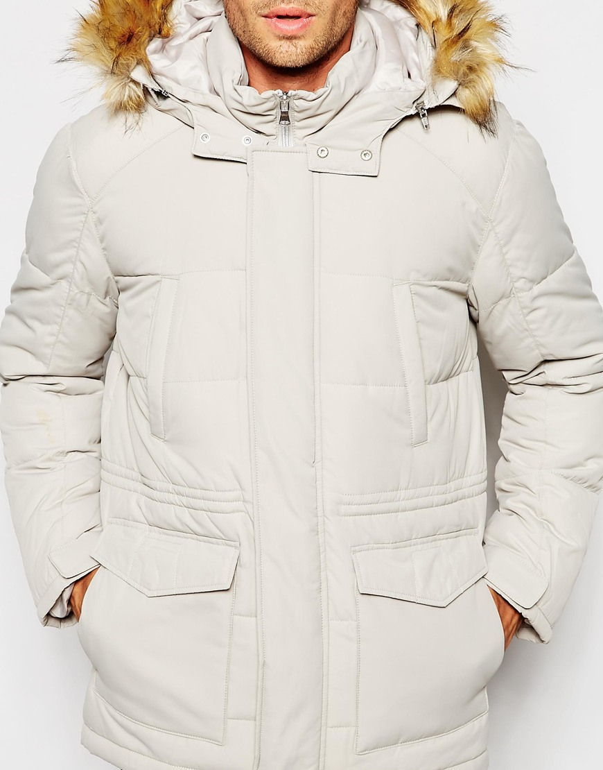 Asos Quilted Fishtail Parka With Faux Fur Hood In White in White ...