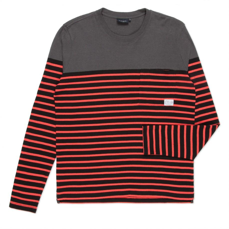 Paul Smith Black And Red Stripe Textured Long Sleeve T
